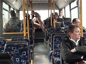 Lindsey Olsen fucks her dude on a public bus