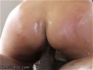 sensual Bridgette handles mad big black cock knob for Job!