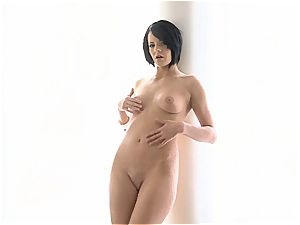 Black-haired cutie got no panties on