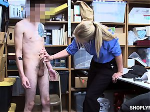 strung up shoplifter gets checked and touched by doll mall cop Rachael Cavalli