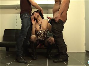 LaCochonne - French Julia Gomez in steaming ass fucking three-way