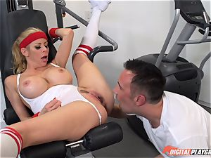 hot milf Alexis Fawx deepthroating rod at the gym
