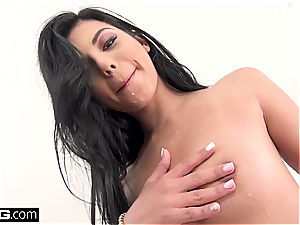 Gina Valentina gets every slot jammed and plumbed