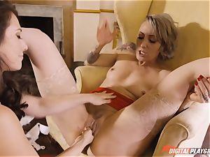 Eva Lovia and Angel lengthy enjoy to gobble pussyhole