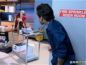 juicy student Abigail Mac smashes in the janitors room