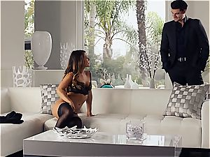 spectacular Eva Lovia is instructing her beau some manners before the soiree