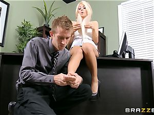 Stand in boss Kayla Kayden gets her employee following rules