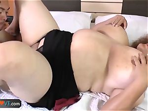 AgedLove lush brunette naughty stud and bed superb