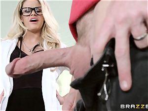 hot medic Jessa Rhodes checks out this massive trouser snake
