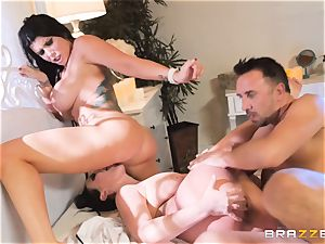 spunk longing vampiress Angela milky sharing boner with Romi Rain