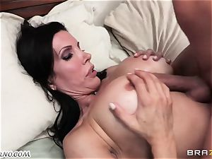 son observes as his dad drills his mature domme with big fun bags