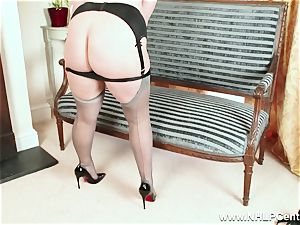 bootylicious platinum-blonde strokes in grey nylons and high high-heeled slippers