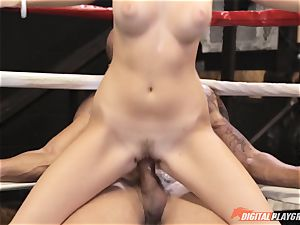 Alexis Adams snatch puckered in the boxing ring by ginormous stiffy