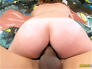 black-haired Sam Summers riding yam-sized rod