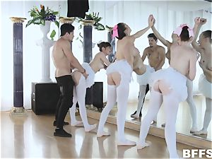strung up Bambino opens up the pussyhole of 3 gorgeous ballerinas