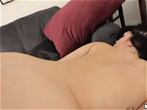 super-steamy momma Ryan smiles facialized after caught playing with her uber-sexy cunt
